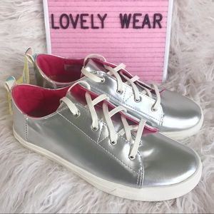TOMS Laced Shoes Youth Silver Lenny Sneakers